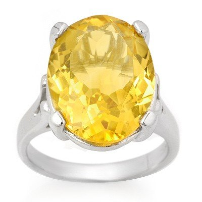 Genuine 10.0 ctw Citrine Ring 10K White Gold - Retails