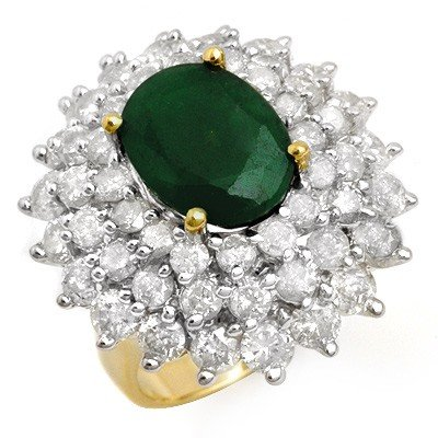 Genuine 10.02ctw Emerald & Diamond Ring 14K Yellow Gold