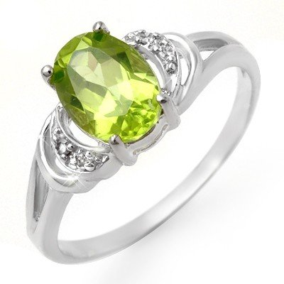 Genuine 1.55 ctw Peridot & Diamond Ring 10K White Gold
