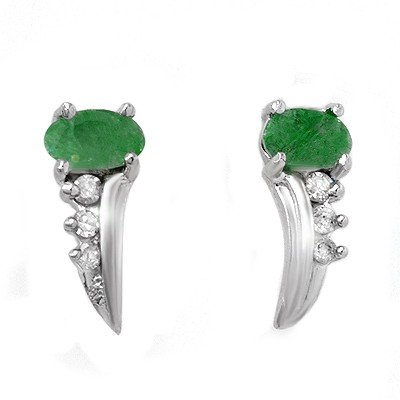 Genuine 0.60 ctw Emerald & Diamond Earrings White Gold