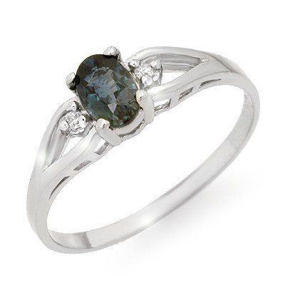 Genuine 0.52 ctw Sapphire & Diamond Ring 10K White Gold
