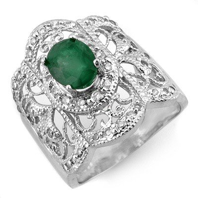 Genuine 2.15 ctw Emerald & Diamond Ring 10K White Gold
