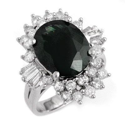 Certified 9.51ctw Sapphire & Diamond Ring White Gold -