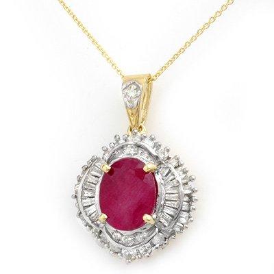 Certified 6.26ct Ruby & Diamond Pendant 14K Yellow Gold