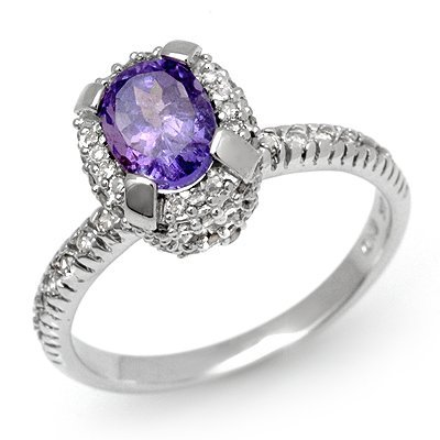 Certified 1.90ctw Tanzanite & Diamond Ring White Gold -