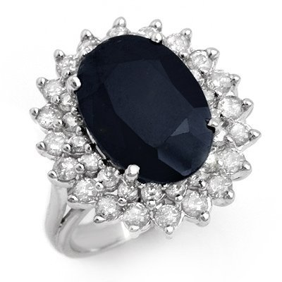 ACA Certified 8.70ct Sapphire & Diamond Ring White Gold