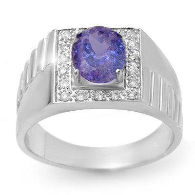 ACA Certified 2.75ct Tanzanite & Diamond Mens Ring Gold