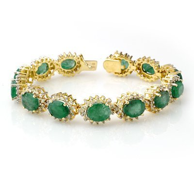 Certified 30.05ct Emerald & Diamond Bracelet 14KY Gold