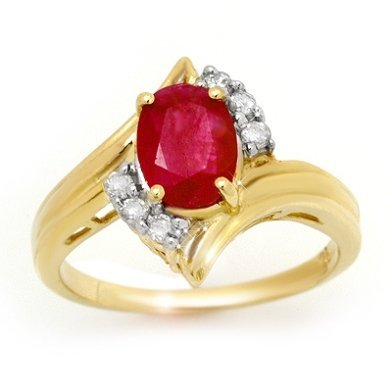 ACA Certified 1.80ctw Diamond & Ruby Ring Yellow Gold -