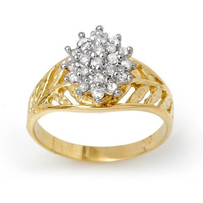 ACA Overstock 0.25ctw Diamond Cluster Ring Yellow Gold