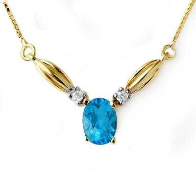 Certified 1.30ct Blue Topaz & Diamond Necklace Gold - L