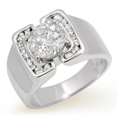Certified Quality 2.08ctw Diamond Men's Ring White Gold