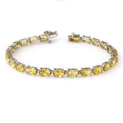 Certified 12.18ctw Citrine Tennis Bracelet White Gold