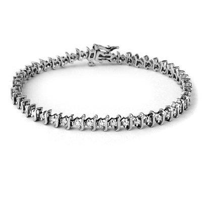 Certified 1.00ctw Diamond Tennis Bracelet White Gold