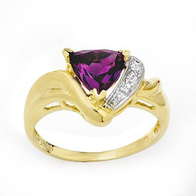 Certified 1.02ctw Amethyst & Diamond Ring Yellow Gold