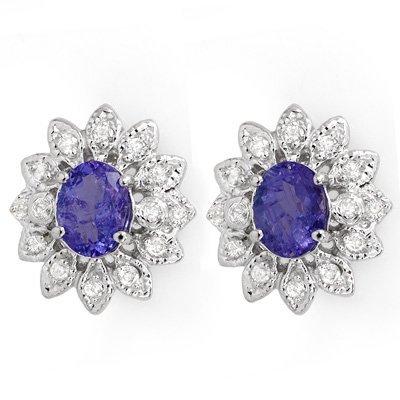 Certified 3.70ctw Diamond & Tanzanite Earring 14K Gold