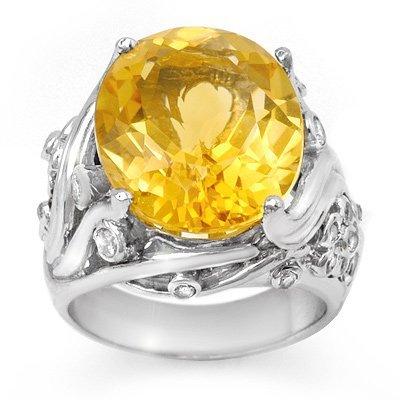Awesome 12.54ctw Citrine & Diamond Ring 14K White Gold