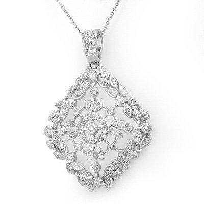 Certified 1.25ctw Diamond Pendant White Gold 14K