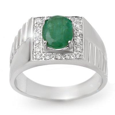 ACA Certified 2.25ctw Emerald & Diamond Men's Ring Gold