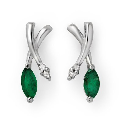 Certified .50ctw Emerald & Diamond Earring White Gold