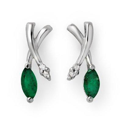 Certified .50ctw Emerald & Diamond Earring White Gold