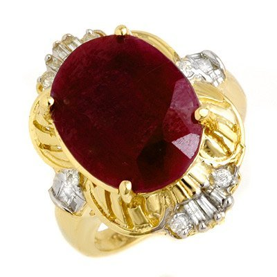 Certified 7.84ctw Ruby & Diamond Ring 14K Yellow Gold