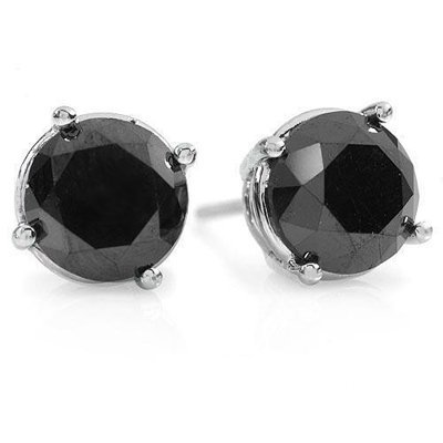 801199445A: Certified 3.0ctw Black Diamond Stud Earring
