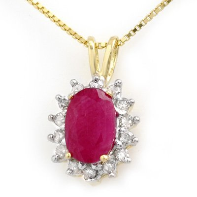 Certified 1.90ctw Ruby & Diamond Pendant Yellow Gold