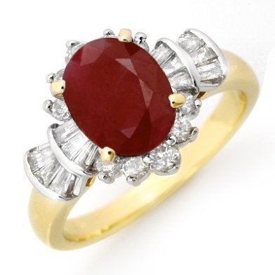 ACA Certified 2.22ctw Ruby & Diamond Ring Yellow Gold