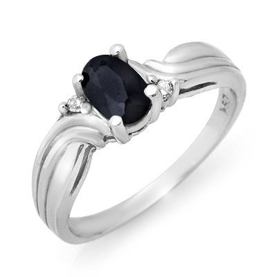 Certified 0.61ctw Diamond & Sapphire Ring White Gold