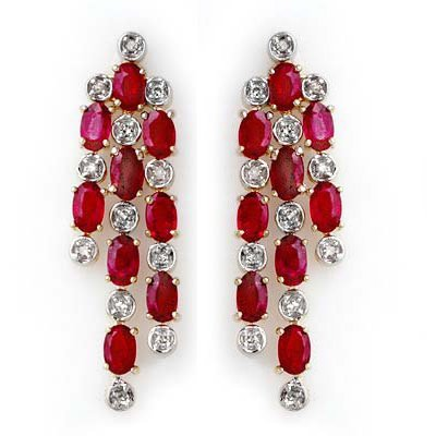 Overstock 4.03ctw Diamond & Ruby Earrings Yellow Gold