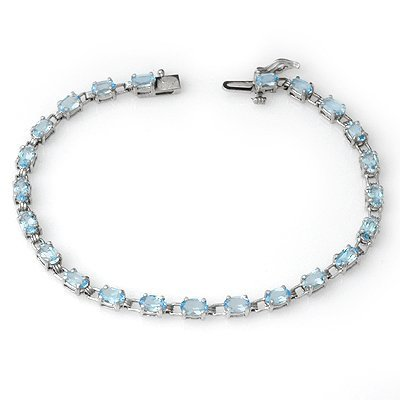 Certified 8.08ctw Blue Topaz Tennis Bracelet White Gold