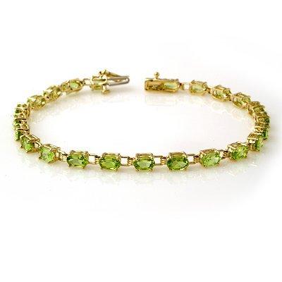 ACA Certified 6.0ct Peridot Ladies Tennis Bracelet Gold