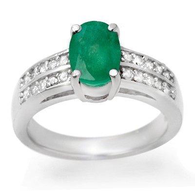 Certified 3.25ctw Emerald & Diamond Ring White Gold