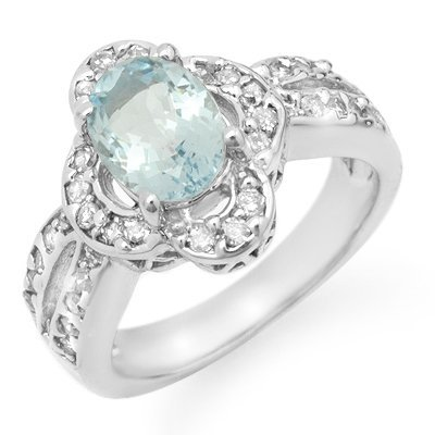 Certified 2.60ct Aquamarine & Diamond Ring 14K W Gold