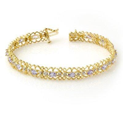 Certified 2.82ctw Tanzanite & Diamond Bracelet Gold