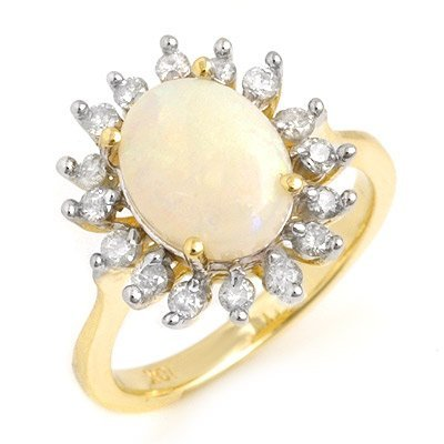 Certified 1.78ct Opal & Diamond Ladies Ring Yellow Gold