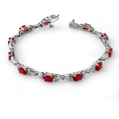 Certified 7.11ctw Ruby & Diamond Tennis Bracelet Gold