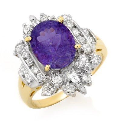 Certified 5.0ctw Tanzanite Diamond Ring 14K Yellow Gold