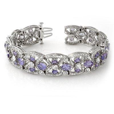 ACA Certified 24.0ctw Tanzanite & Diamond Bracelet Gold