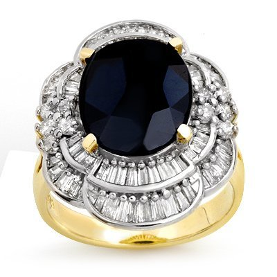 Overstock 7.85ct Certified Sapphire & Diamond Ring Gold