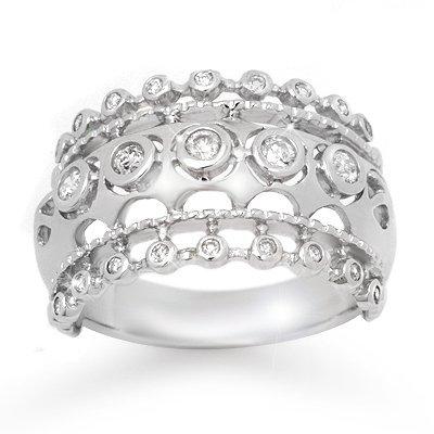 ACA Certified 0.83ctw Diamond Wedding Band White Gold