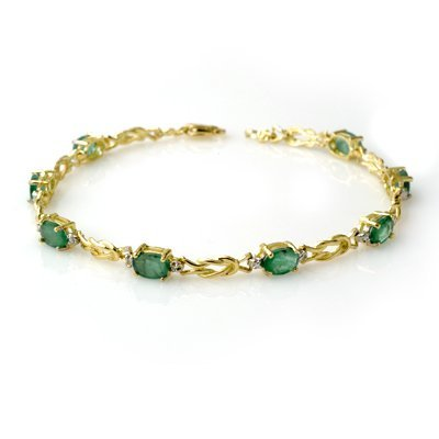Overstock 4.11ctw Emerald & Diamond Bracelet Gold