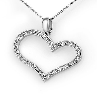 Overstock 0.60ctw Diamond Heart Pendant 14K White Gold