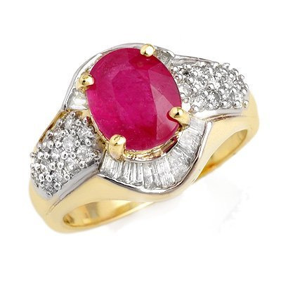 Certified 3.00ctw Ruby & Diamond Ring 14K Yellow Gold