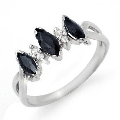 ACA Certified .57ctw Sapphire & Diamond Ring White Gold