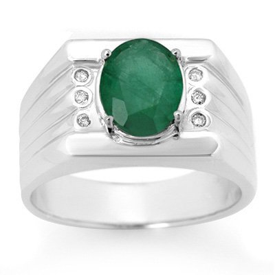 Men's 2.06ctw Diamond & Emerald Ring Solid White Gold