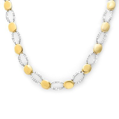 ACA Certified 4.50ctw Diamond Ladies Necklace 14K Gold