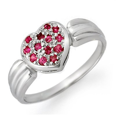 Certified 0.40ctw Pink Sapphire Ladies Ring White Gold