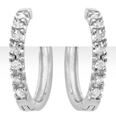 Overstock 0.40ctw Diamond Hoop Earring 14K White Gold